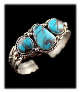 American Indian Handmade Bisbee Turquoise Bracelet