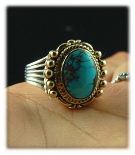 Fine jewelry ring style 14k yellow gold, silver and Bisbee Turquoise ring with real Arizona Turquoise