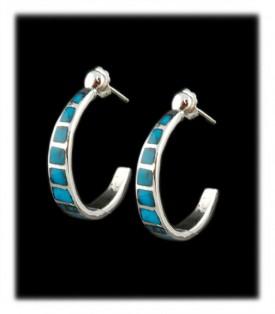 Bisbee Turquoise Silver Hoop Earrings