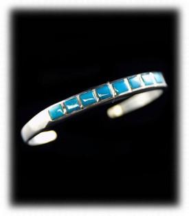 Deep Blue Bisbee Turquoise Inlay Bracelet