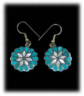 Inlaid Turquoise Dangle Earrings