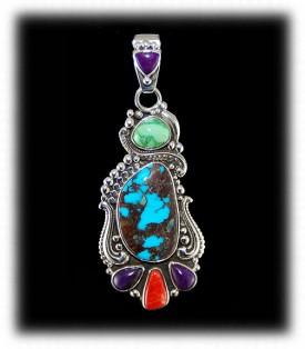 Bisbee Turquoise Pendant with Gemstones