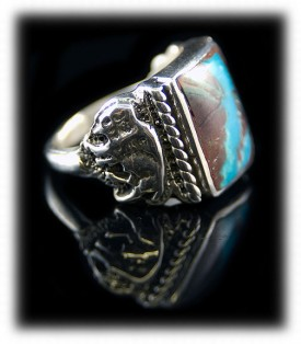 Blue Turquoise Mens Rings, Mens Silver Ring, Buffalo Ring