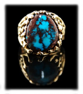 Mens Bisbee Turquoise Ring in Gold