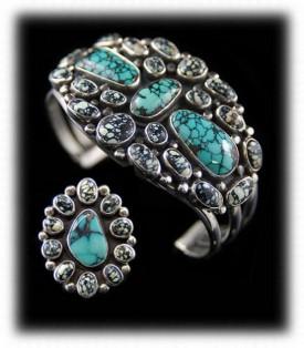 Bisbee Turquoise Cluster Bracelet - Navajo Handmade in USA