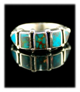 Turquoise Ring Band  - Row Type