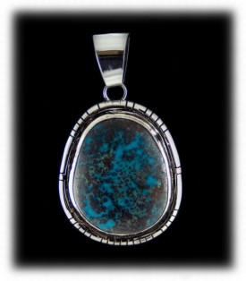 Silver Pendant - Bisbee Turquoise Pendant in Sterling Silver