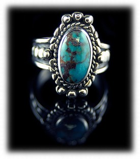 Artisan handmade women's Sterling Silver and Bisbee Turquoise ring by Durango Silver Company