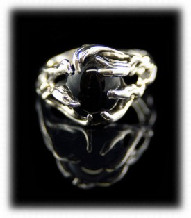 Handcrafted Silver Ring with Black Onyx Gemstone
