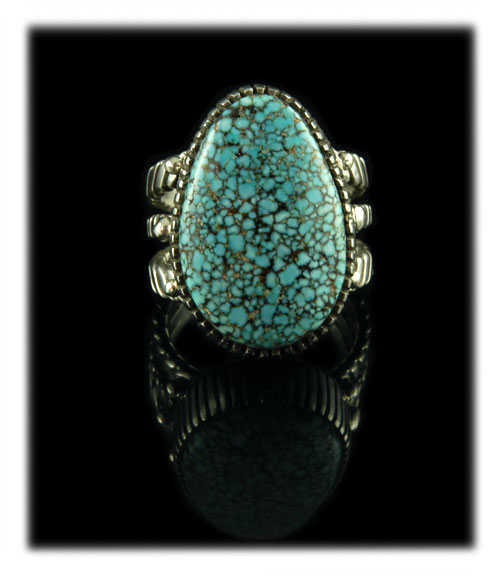 Black Spiderweb Number Eight Turquoise Ring