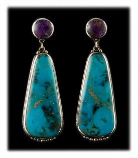 American Turquoise Earrings - Blue Kingman Turquoise