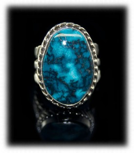 Blue Diamond Turquoise Ring - Mens