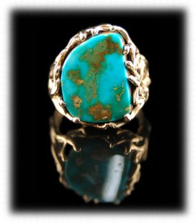 Gold and Blue Gem Turquoise Jewelry