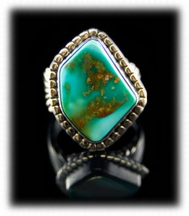Blue Gem Turquoise Mens Silver Rings