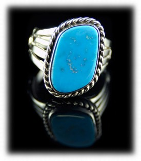 Sterling Silver Ring with Blue Gem Turquoise