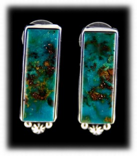 American Indian Earrings with Blue Gem Turquoise