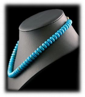 Eighteen Inch Blue Turquoise Beaded Necklace