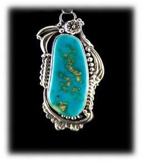 Blue Gem Turquoise Pendant by John Hartman
