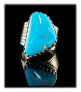 Mens Turquoise Rings with Blue Gem Turquoise