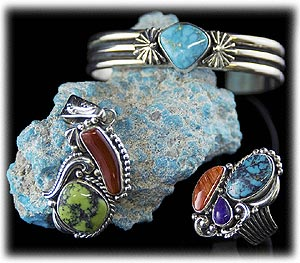 Blue Natural Turquoise Jewelry and Lime Green Turquoise