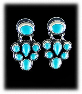 Navajo Dangle Turquoise Earrings in Blue Turquoise