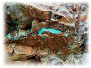 Blue Pilot Mountain Turquoise Vein mined by  the Wilson family