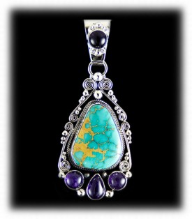 Blue Roystone Turquoise Pendant - Silver Pendant
