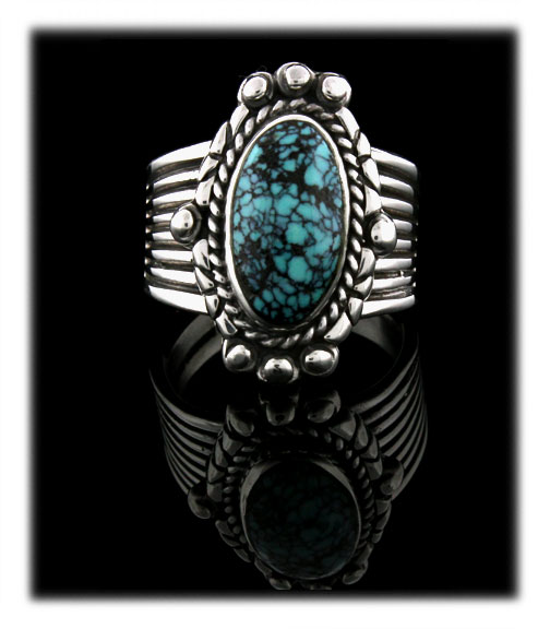 Blue Spiderweb Turquoise Ring