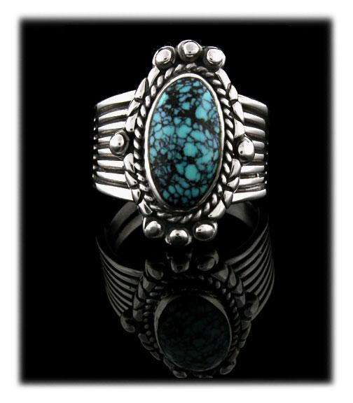 Blue Spiderweb Turquoise Ring