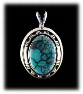 Blue Spiderweb Turquoise and Silver Pendant