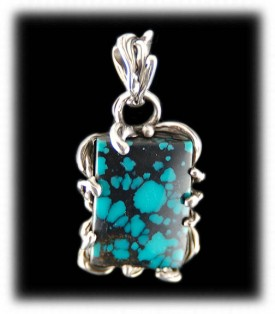 Tibetan Spiderweb Turquoise Pendant