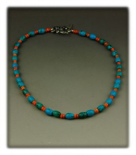 Blue Turquoise bead necklace with spiny oyster shell
