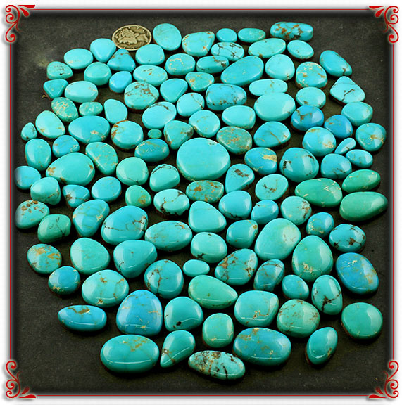 Blue Turquoise Cabochons from the Turquoise Mountain Turquoise mine