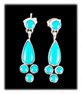 Blue Turquoise Earrings-Navajo Handcrafted