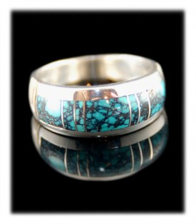 Native Artisan Crafted Blue Turquoise Ring - Inlaid Turquoise