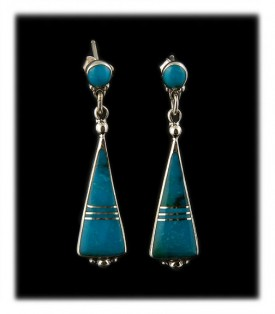 Blue Turquoise Inlay Dangle Earrings