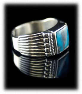Inlay Mens Turquoise Rings - Side View