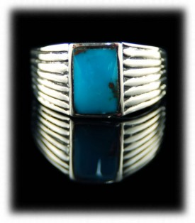Mens Silver Bands with Bisbee Turquoise