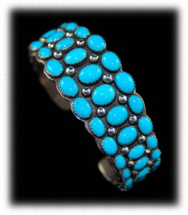 Mens Silver Bracelets with Blue Turquoise