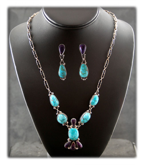 Blue Turquoise Necklace with Sugilite