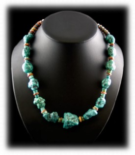Blue Turquoise Nugget Mens Necklace