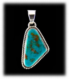 Blue Turquoise Pendant - Navajo Handcrafted