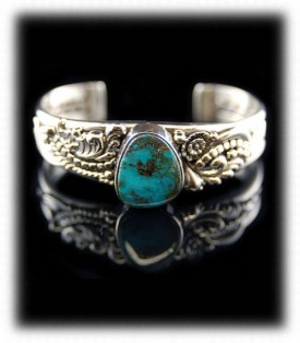 Southwest Silver Bracelet with Bisbee Blue Turquoise