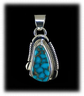 Blue Spiderweb Turquoise Pendant - Silver Pendant