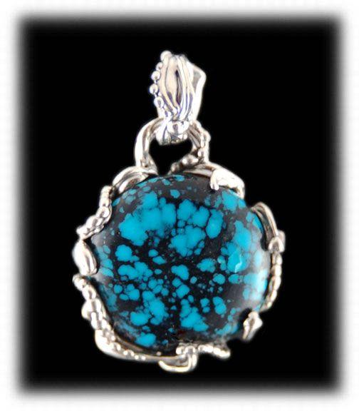 Blue Warrior Spiderweb Turquoise Pendant