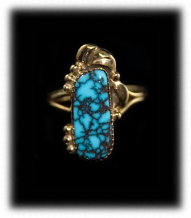 Ladies Gold Ring with Blue Wind Spiderweb Turquoise