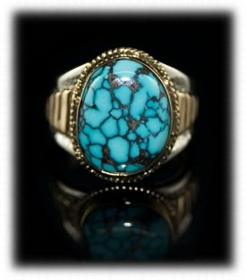Silver and Gold Mens Ring with Blue Wind Spiderweb Turquoise