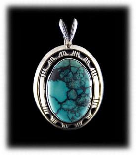 Blue Spiderweb Turquoise Pendant - Navajo Jewelry