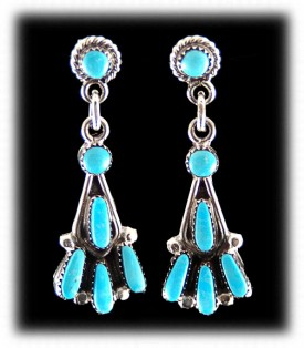 Zuni Needlepoint Turquoise Dangle Earrings