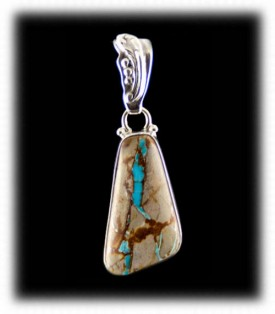 Royston Ribbon Turquoise in a Sterling Silver Pendant